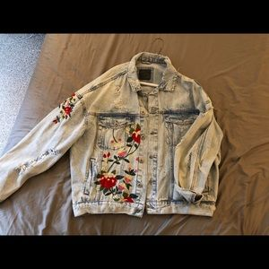 Unique Zara Embroidered Jean Jacket